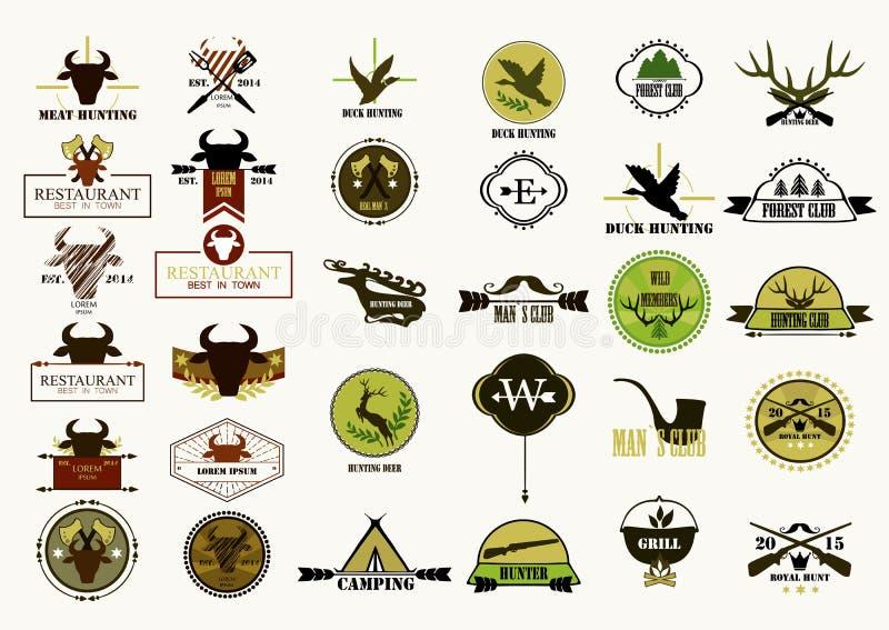 Collecton de la etiqueta del club de caza Elementos y diseño de las etiquetas stock de ilustración