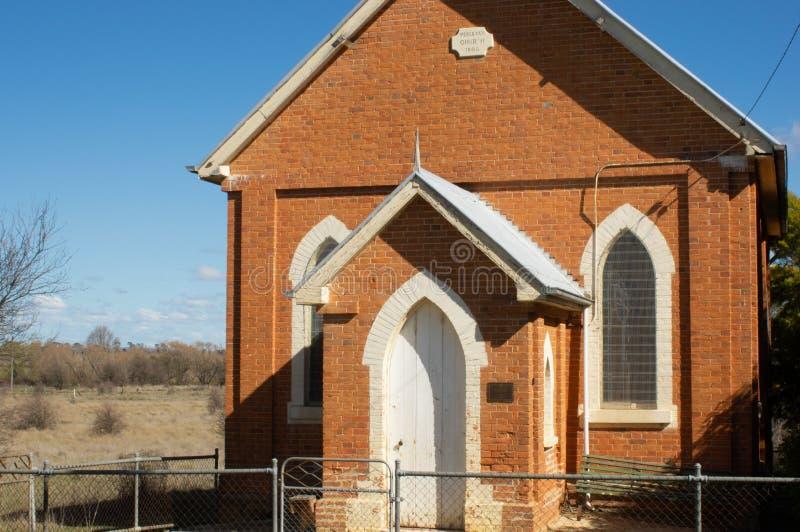 Collector, Australië - Augustus achttiende 2013: Kleine Kerk in de Landelijke NSW-Stad van Collector stock foto's