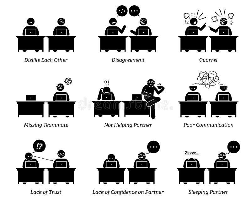 Collega en partners die ondoelmatig in werkplaatsbureau samenwerken royalty-vrije illustratie