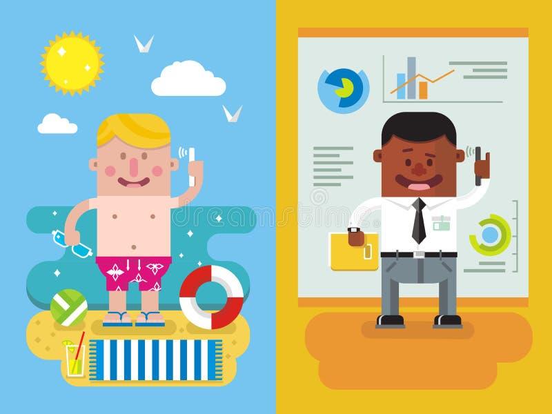 Collega's die van vakantie aan het werk roepen royalty-vrije illustratie