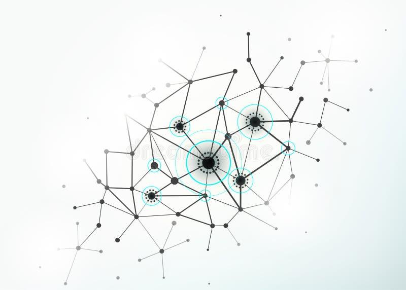 Collegamenti di concetto della rete con le linee, i cerchi ed i punti illustrazione di stock