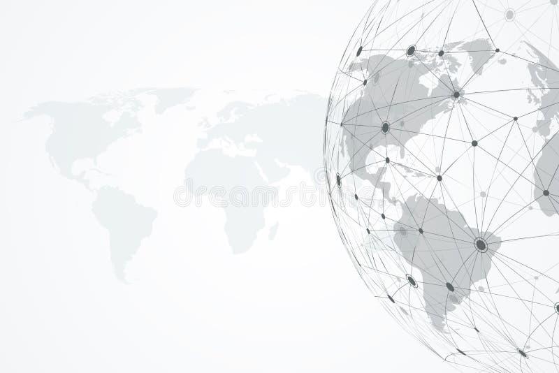 Collegamenti di rete globale con i punti e le linee dinamici Fondo del collegamento a Internet con la mappa di mondo Estratto illustrazione di stock