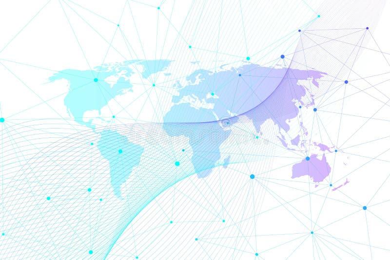 Collegamenti di rete globale con la mappa di mondo Fondo del collegamento a Internet Struttura astratta del collegamento poligona illustrazione vettoriale