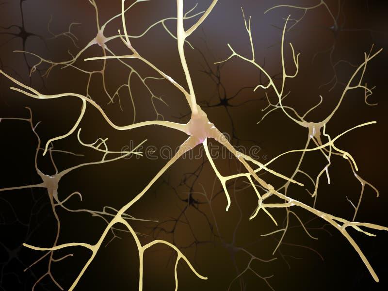 Collegamenti di un neurone all'interno del cervello umano royalty illustrazione gratis