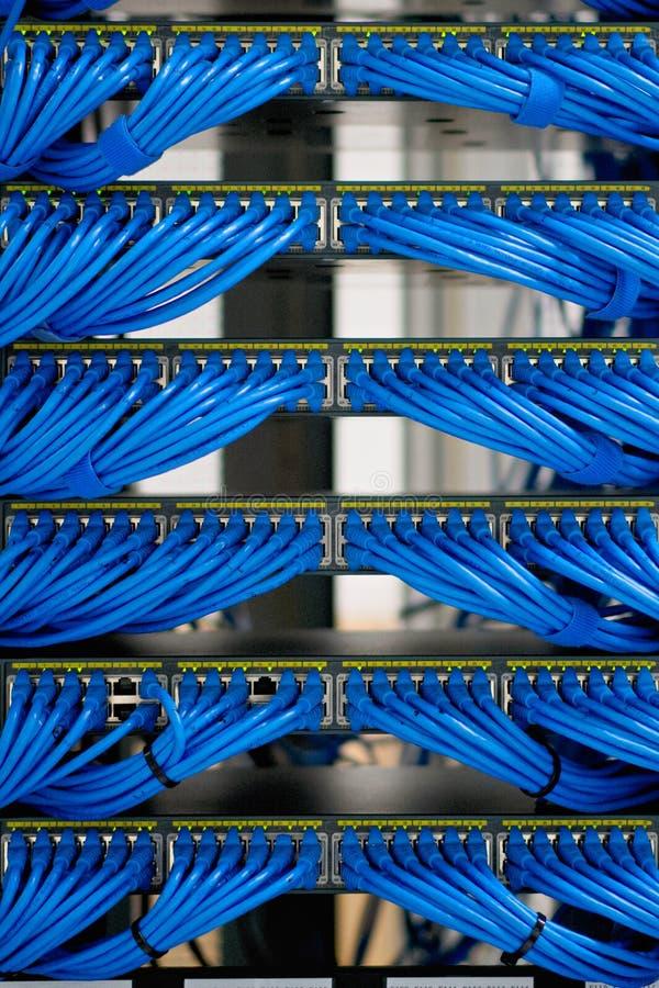 Collegamenti e rete del cavo di lan nel centro dati fotografia stock libera da diritti