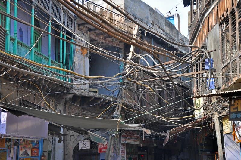 Collegamenti elettrici in India fotografie stock
