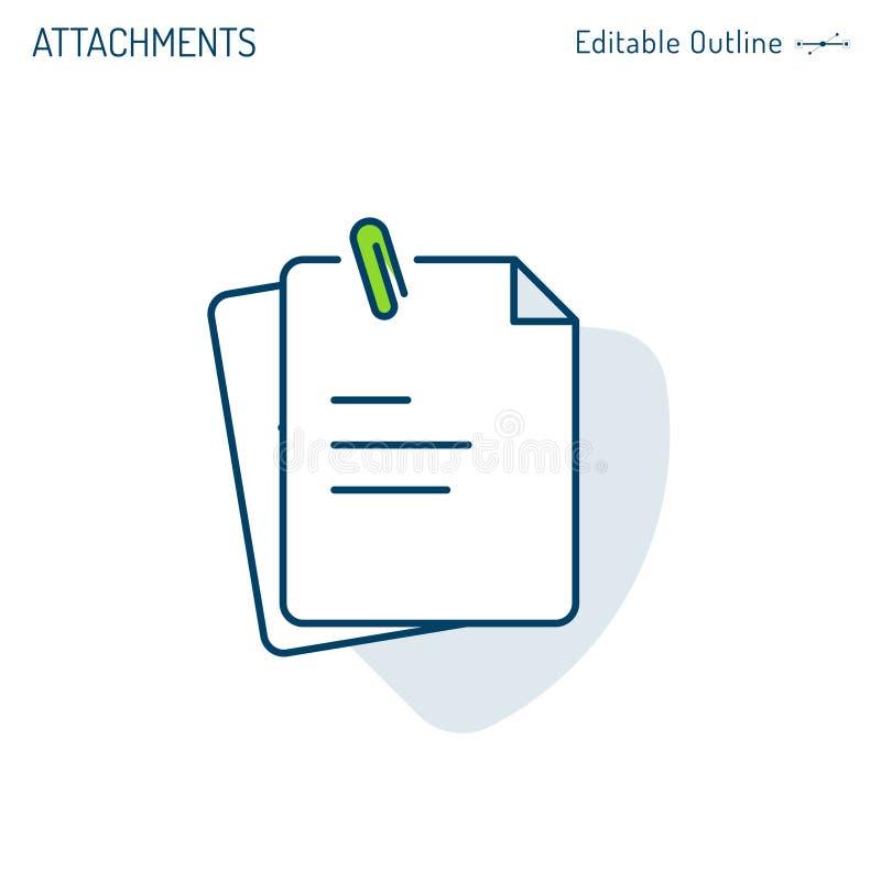 Collegamenti icona, graffetta, note, icona del documento, blocco note, lavagna per appunti, archivi dell'ufficio di affari corpor illustrazione vettoriale