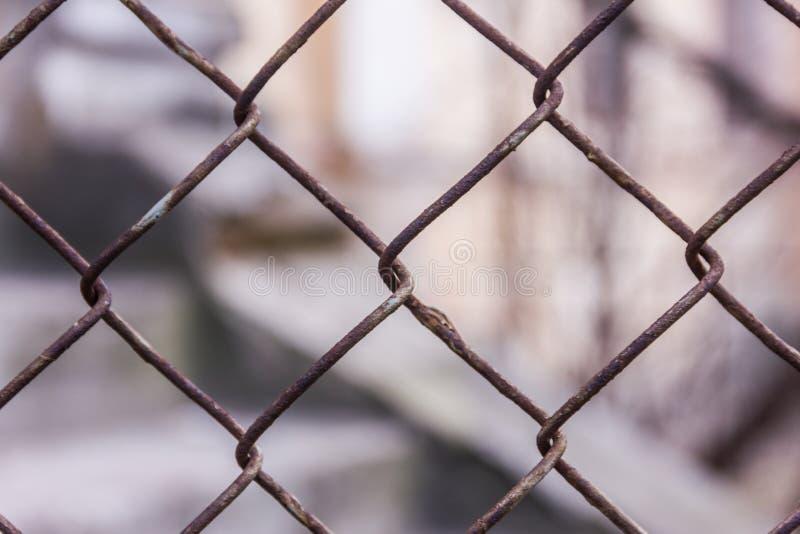 Collegamento a catena o rete metallica d'acciaio arrugginito come di muretto C'è parete del blocco in calcestruzzo ancora dietro  fotografia stock libera da diritti