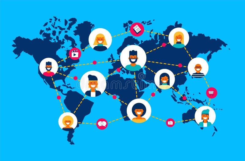 Collegamento del gruppo della gente della mappa di mondo della rete sociale illustrazione vettoriale