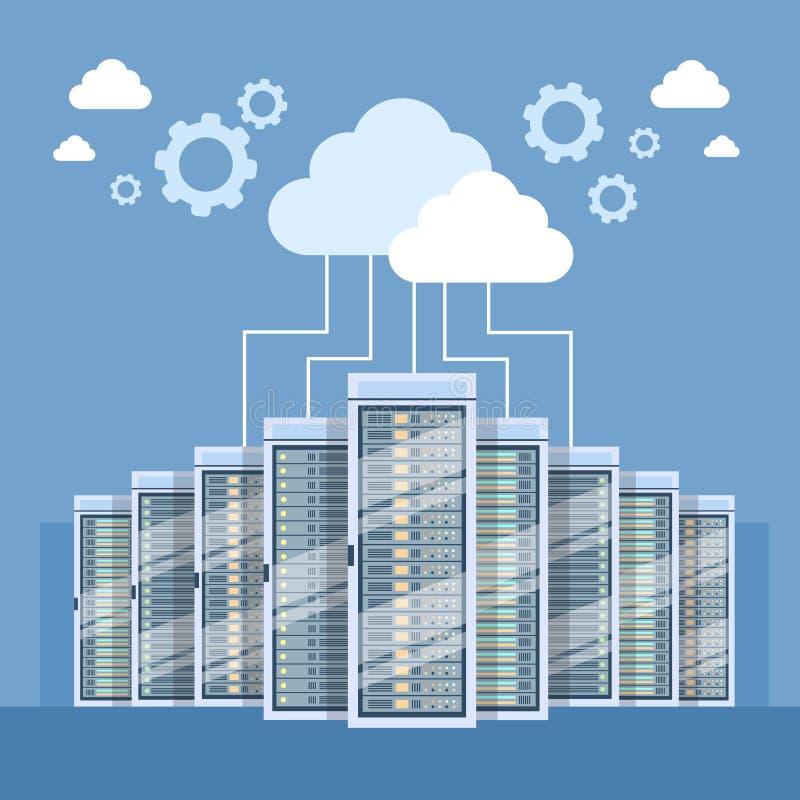 Collegamento della nuvola del centro dati che ospita computer server illustrazione vettoriale