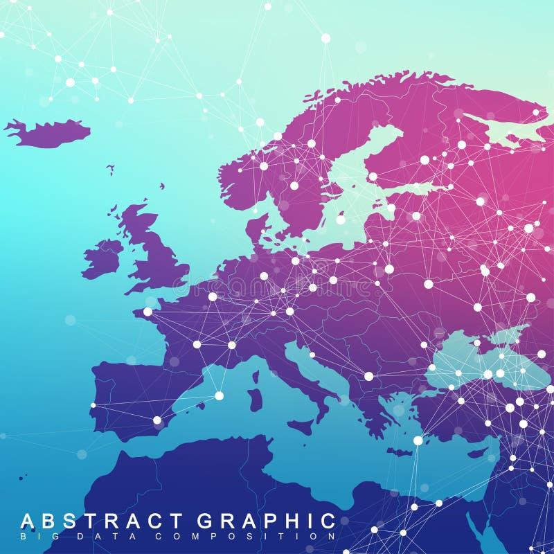 Collegamento di rete globale con la mappa di Europa Rete e grande fondo di visualizzazione di dati Commercio globale Vettore royalty illustrazione gratis