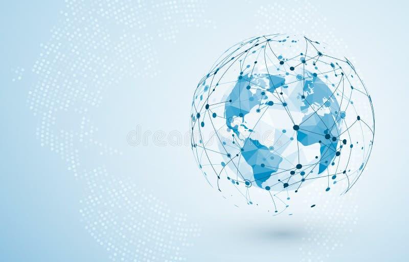 Collegamento di rete globale Grandi dati o collegamento di rete sociale globale Concetto poligonale basso della mappa di mondo de illustrazione vettoriale