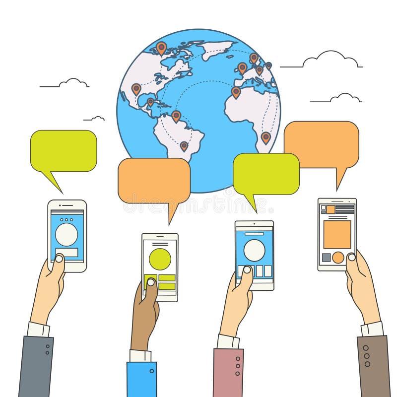 Collegamento di rete internet di concetto della mappa del globo del mondo di Media Communication del sociale illustrazione vettoriale