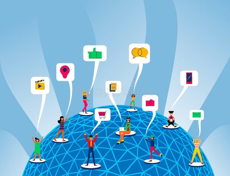Collegamento sociale globale di media intorno al mondo illustrazione di stock