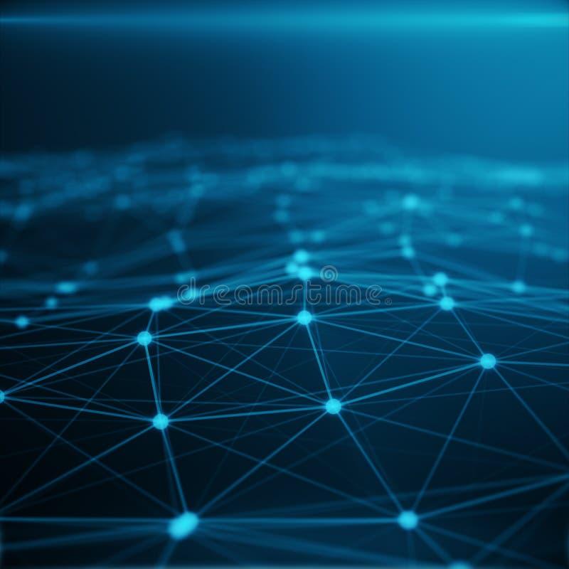 Collegamento tecnologico in computer della nuvola, rete blu del punto, fondo astratto, concetto di rappresentazione della rete illustrazione di stock