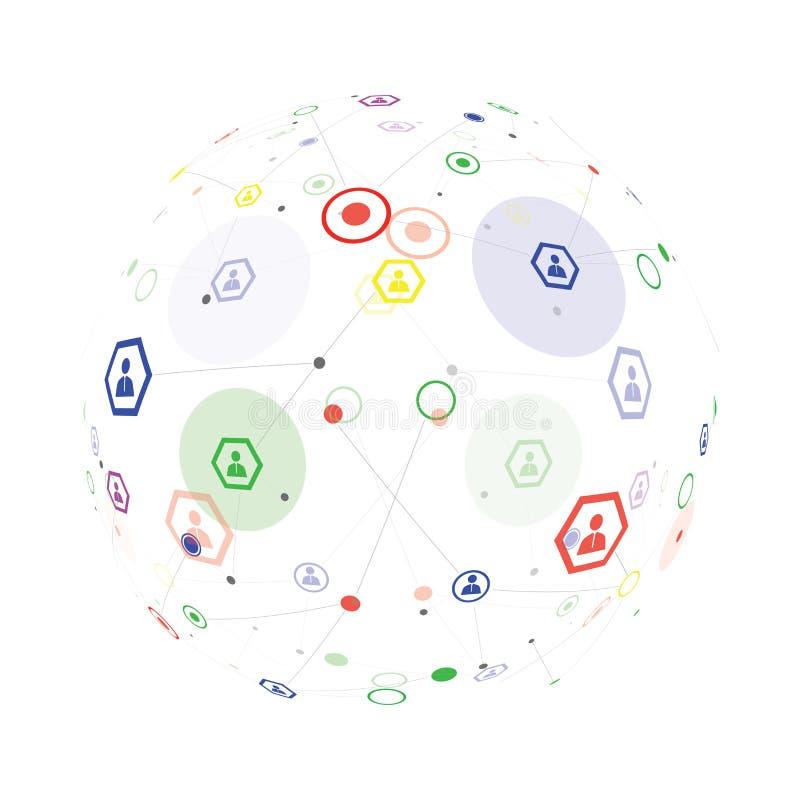Collegamento umano del globo illustrazione vettoriale