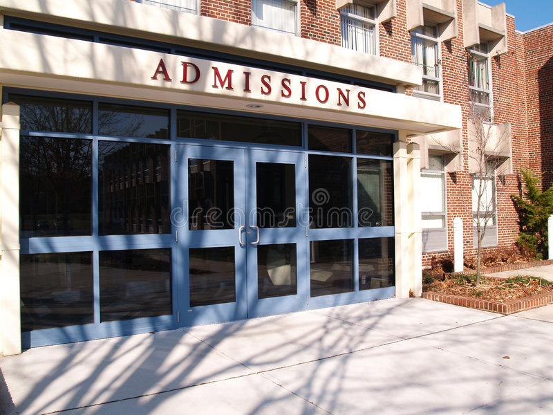 College admissions building stock photos