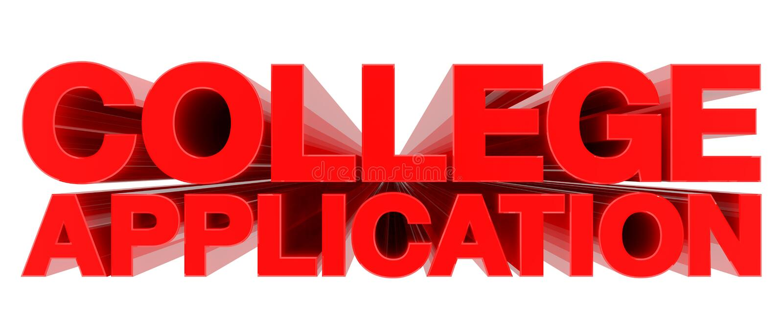 COLLEGE APPLICATION word on white background Rendering 3d ilustracji