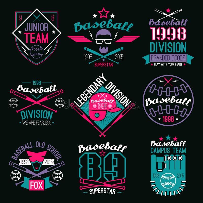 College baseball team emblems. Graphic design for t-shirt. Color print on a black background royalty free illustration