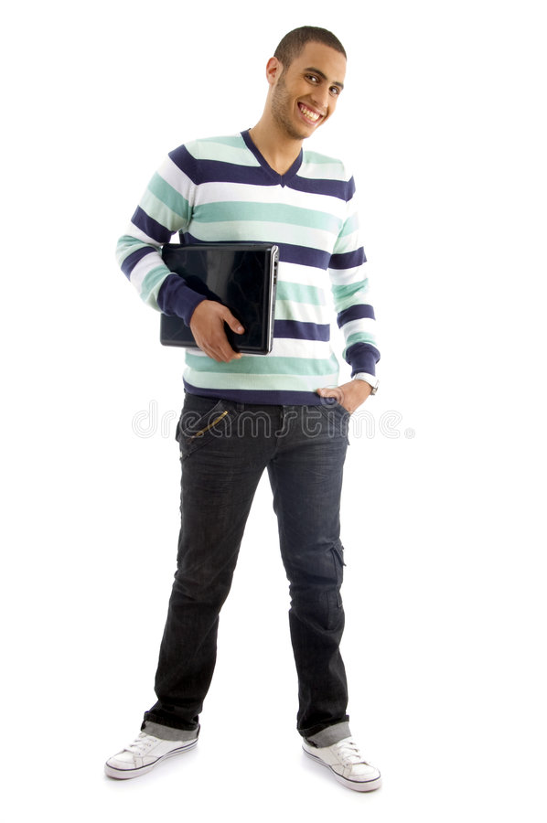 Download College boy holding laptop stock photo. Image of camera - 7208758