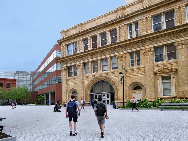 College campus with contrasting old and new buildings. Drexel University, Philadelphia stock photo