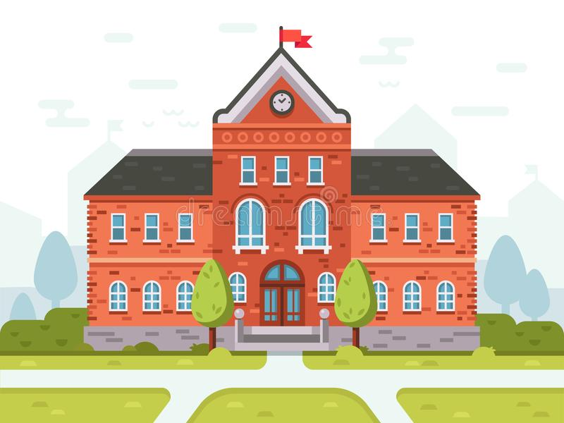College campus for students or university building. Student house entrance vector illustration vector illustration