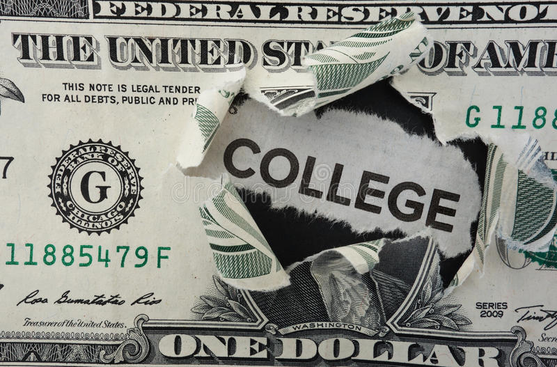 College dollar. Paper headline with College text in torn dollar bill royalty free stock photos