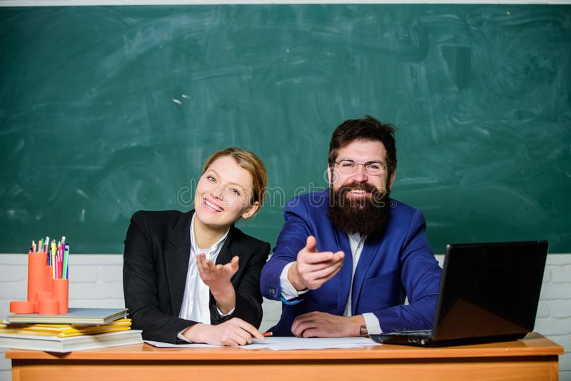 College enrollee. Entrance examination. Apply to enter high school. Selection committee concept. Interviewing enrollee. Teacher principal decide who will enter royalty free stock images