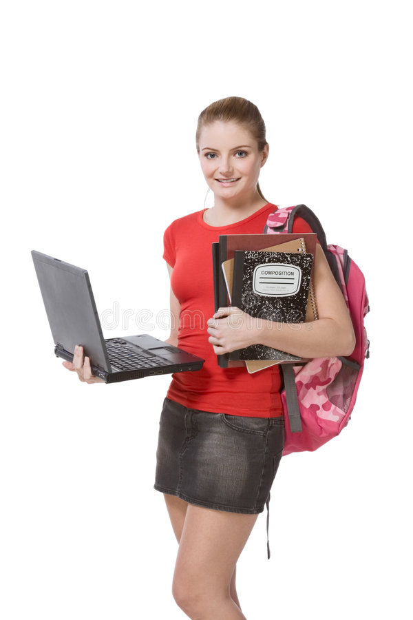 College female student girl with laptop, backpack stock images