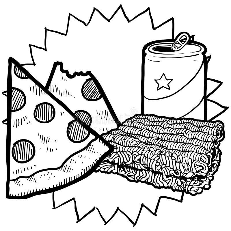 College food sketch royalty free illustration