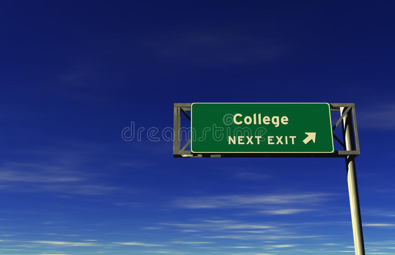 College - Freeway Exit Sign royalty free stock images