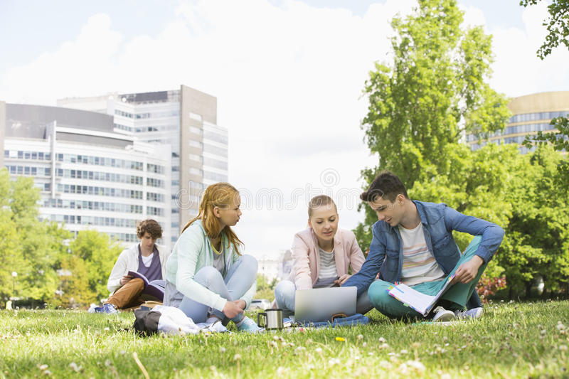 College friends studying while using laptop at campus stock photo
