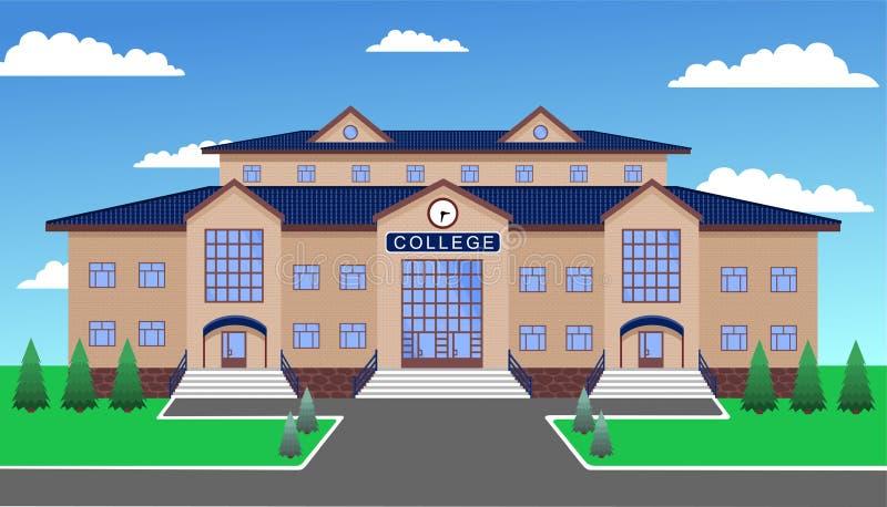 College gegen den blauen Himmel, mit Rasen, Wegen, Tanne und Tannenbäumen vektor abbildung
