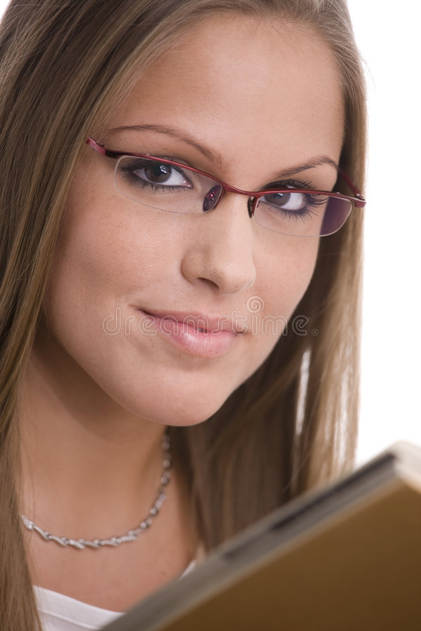 College girl in glasses stock images