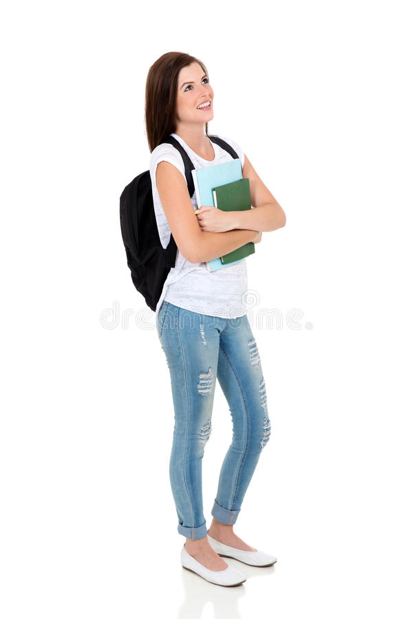 College girl looking up royalty free stock images