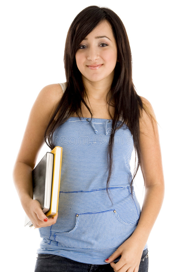 College girl posing with books