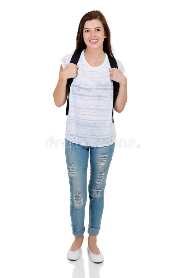 college girl standing stock photography
