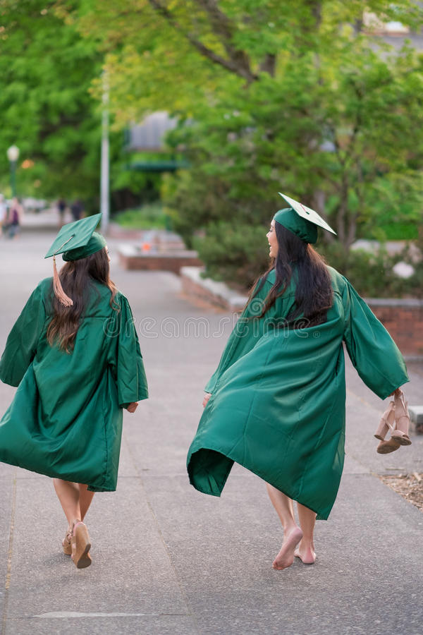 College Graduation Photo on University Campus royalty free stock images