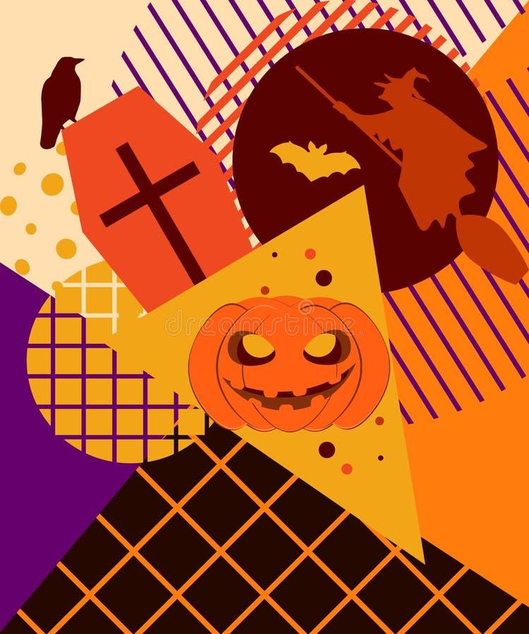 College Halloweens Memphis Festlicher Hintergrund mit mystischen Geschöpfen lizenzfreie abbildung