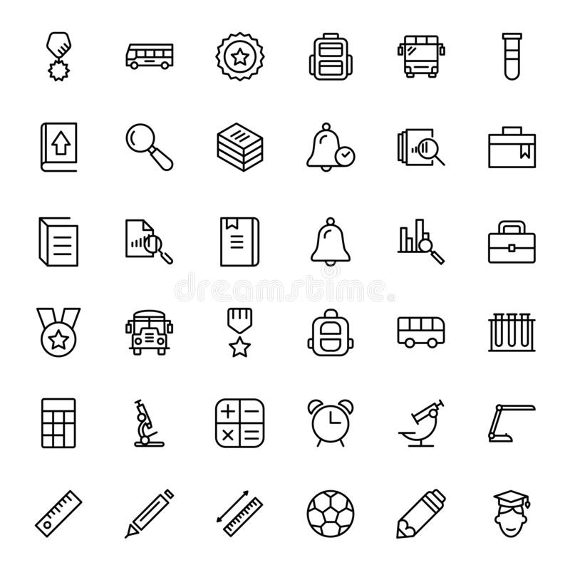 Flat icon set. College icon set. Collection of high quality black outline logo for web site design and mobile apps. Vector illustration on a white background royalty free illustration