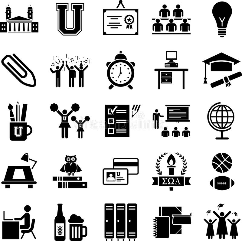 Free College Icons Royalty Free Stock Photography - 28568147
