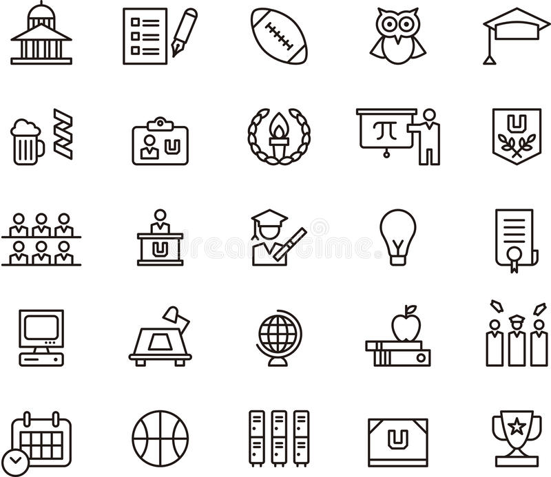 College icons and symbols royalty free illustration