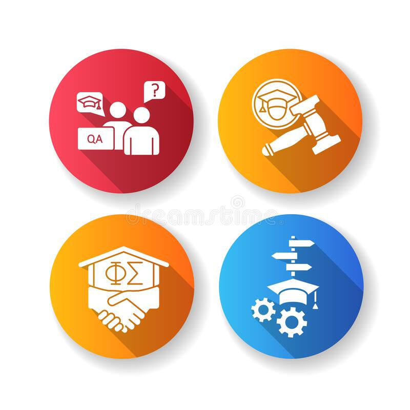 Free College Life Flat Design Long Shadow Glyph Icons Set Stock Images - 191693474