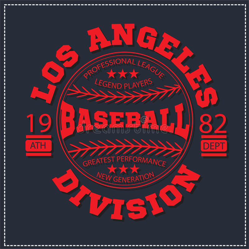 College Los angeles varsity division sport baseball america typography, t-shirt graphics. Very easy to use for apparel. stock illustration