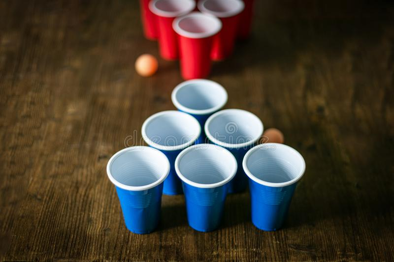 College party sport - beer pong table setting royalty free stock image