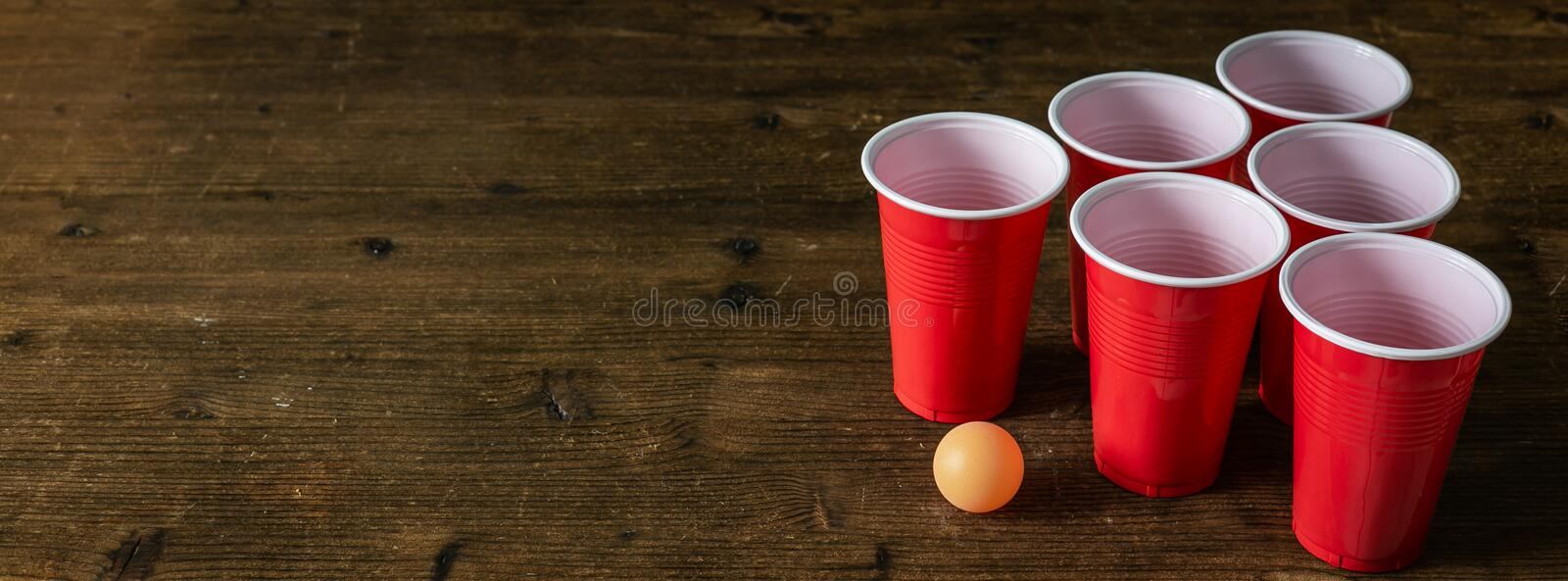 College party sport - beer pong table setting royalty free stock photos
