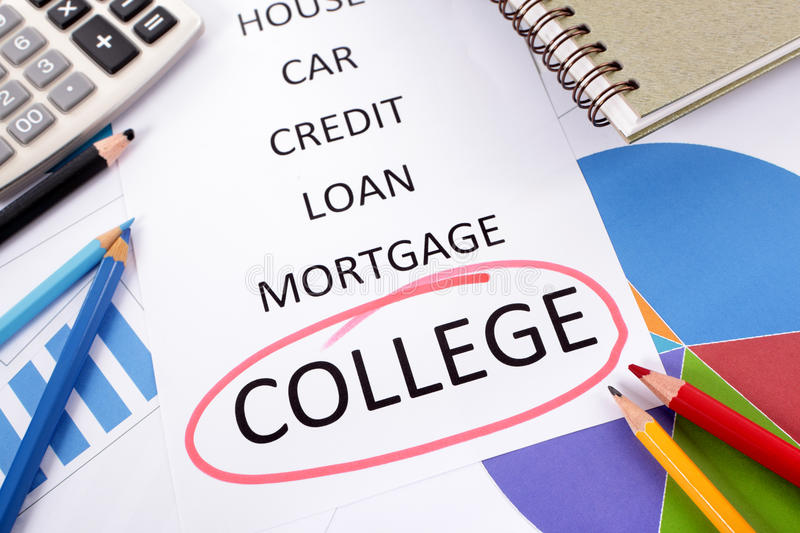 College education fund savings planning. The word College circled in red with a list of saving and debt obligations surrounded by graphs, charts, books and royalty free stock photography