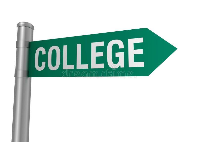 College road sign 3d illustration stock illustration