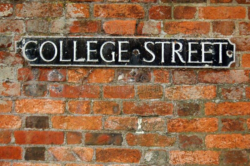 college roadsign street 免版税库存照片