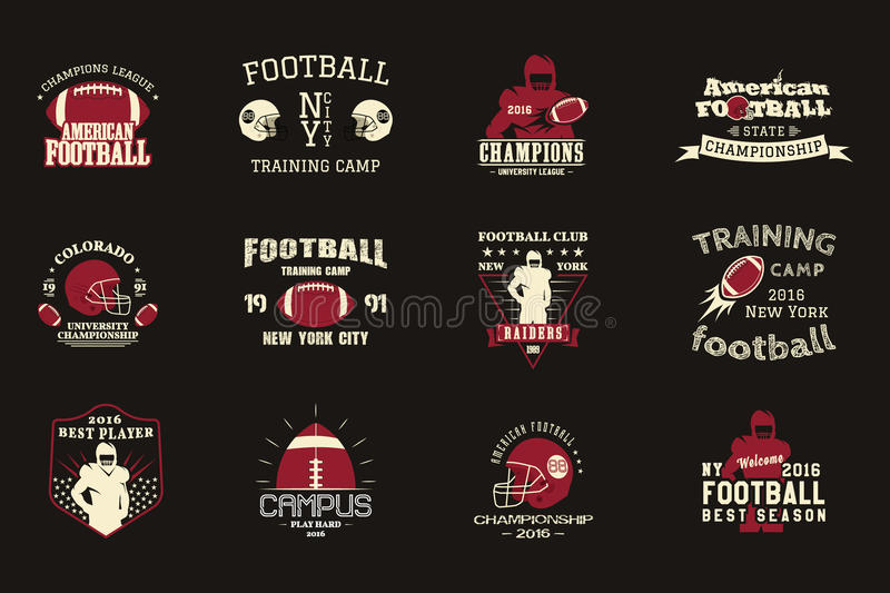 College rugby and american football team campus stock American football style t shirts